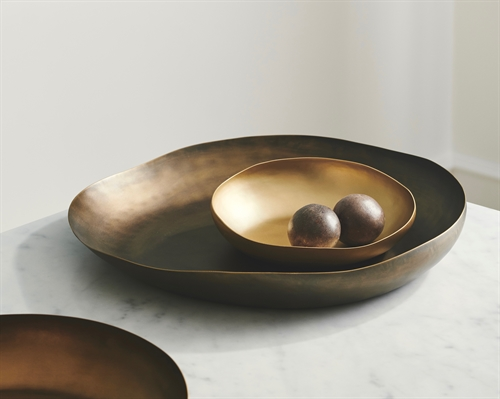 Wave Platter ø40*5 Brass, Dark Brown Patina